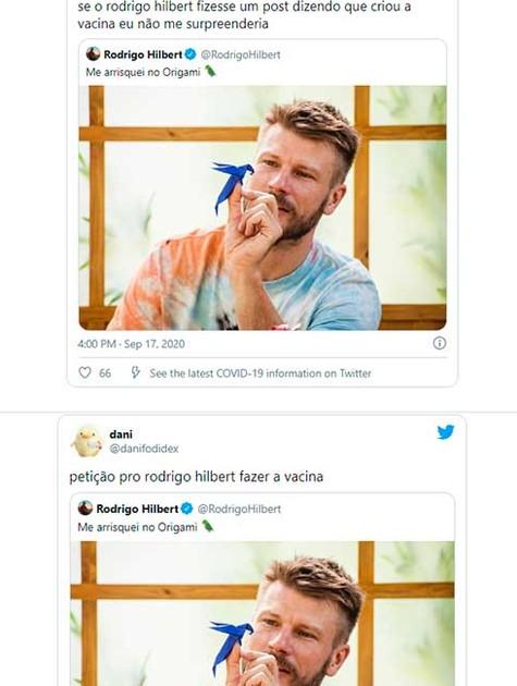 Postagens no Twitter associando Rodrigo Hilbert à vacina da Covid-19 (Foto: Reprodução)