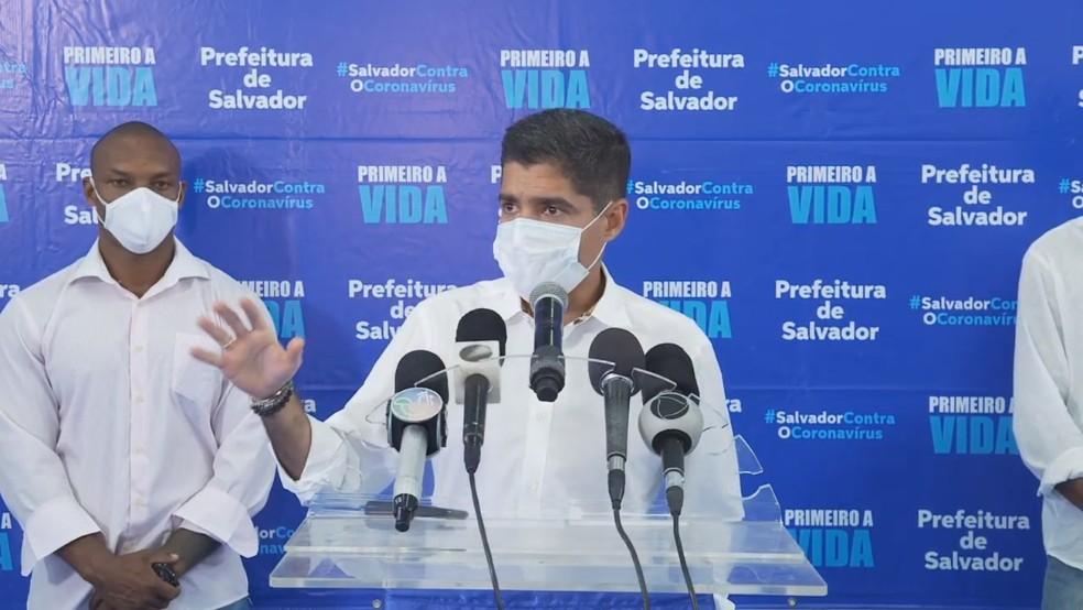 Prefeito de Salvador, ACM Neto, em entrevista coletiva nesta sexta-feira (16). — Foto: Reprodução/Redes Sociais
