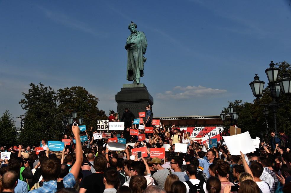 -  Protesto contra reforma da previdência em Moscou, na Rússia  Foto: Vasily MAXIMOV / AFP