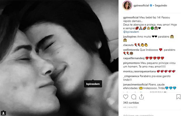 Gloria Pires e o caçula, Bento (Foto: Reprodução/Instagram)