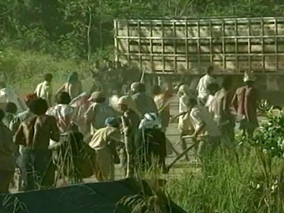 O confronto com policiais ocorreu em 17 de abril de 1996 no município de Eldorado dos Carajás. — Foto: reprodução Globo News