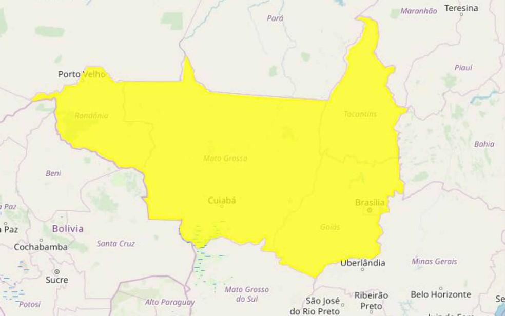 Alerta de chuva emitido pelo Inmet nesta terça abrange RO, além de outros três estados e o Distrito Federal.  — Foto: Inmet/Reprodução