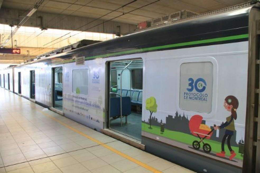 Metrô do Recife tem vagão adesivado sobre Protocolo de Montreal (Foto: Divulgação/CBTU)