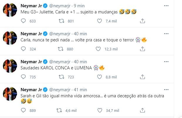 Neymar declara torcida e compara brothers a sua vida amarosa - Reprodução/instagram