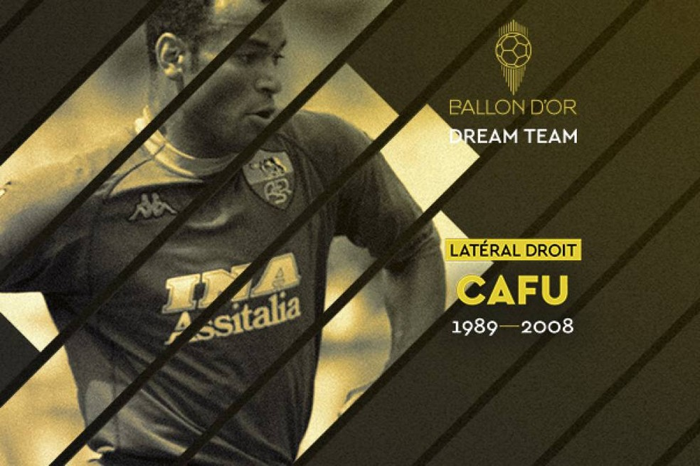 Cafu foi eleito para o Dream Team da Bola de Ouro — Foto: France Football