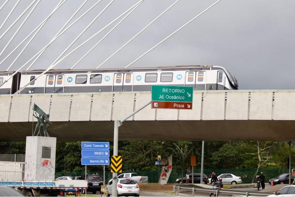 Metrô na Barra da Tijuca, Linha 4 — Foto: Marcos Serra Lima/G1