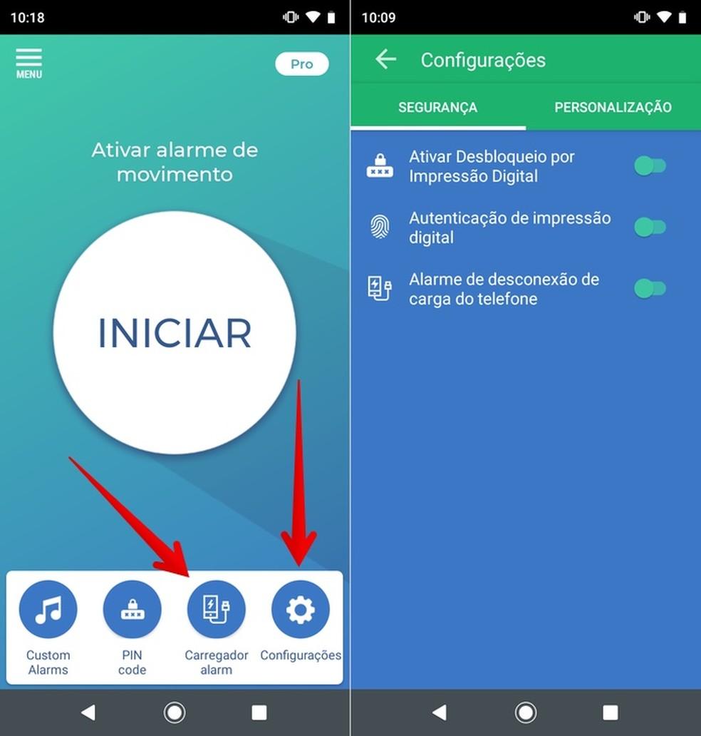 Ativando alarme de desconexão do carregador no app Não toque em meu telefone — Foto: Reprodução/Helito Beggiora