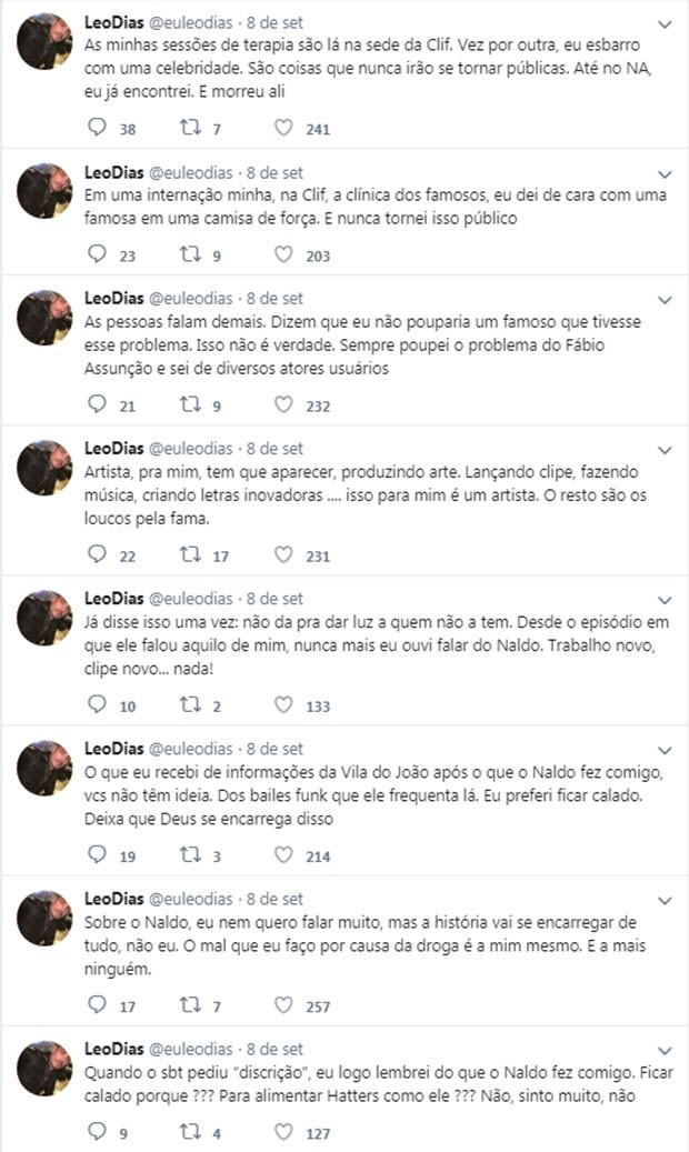 Leo Dias fala sobre seu tratamento no Twitter (Foto: Reprodução/Twitter)
