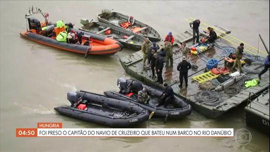 Preso capitão de navio de cruzeiro que bateu em barco na Hungria; sete pessoas morreram
