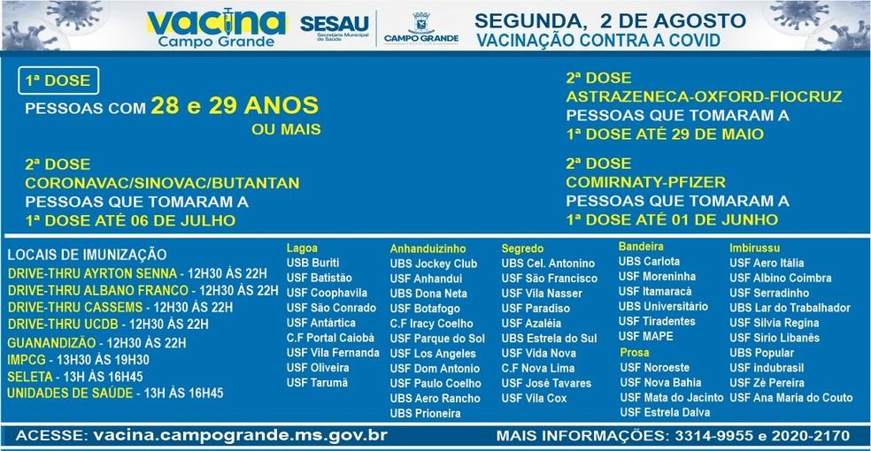Pontos de vacinação em Campo Grande, nesta segunda (2). — Foto: PMCG/Reprodução