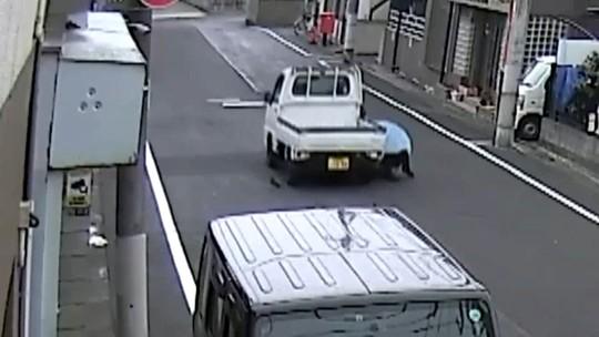 Idosa é roubada e arrastada por caminhão no Japão; vídeo