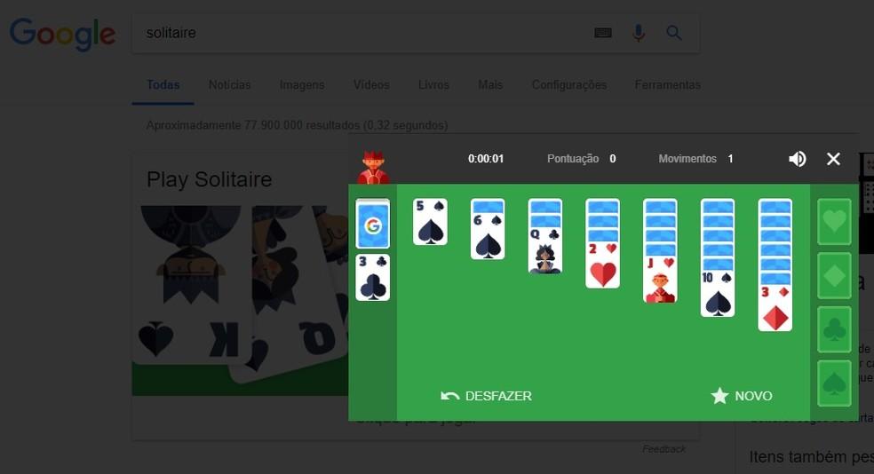 Jogue Paciência online direto nos resultados do Google (Foto: Reprodução/Rodrigo Fernandes)