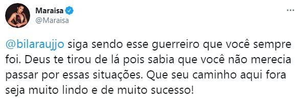 Maraisa se pronuncia após eliminação de Bil do BBB21 (Foto: Reprodução / Twitter)