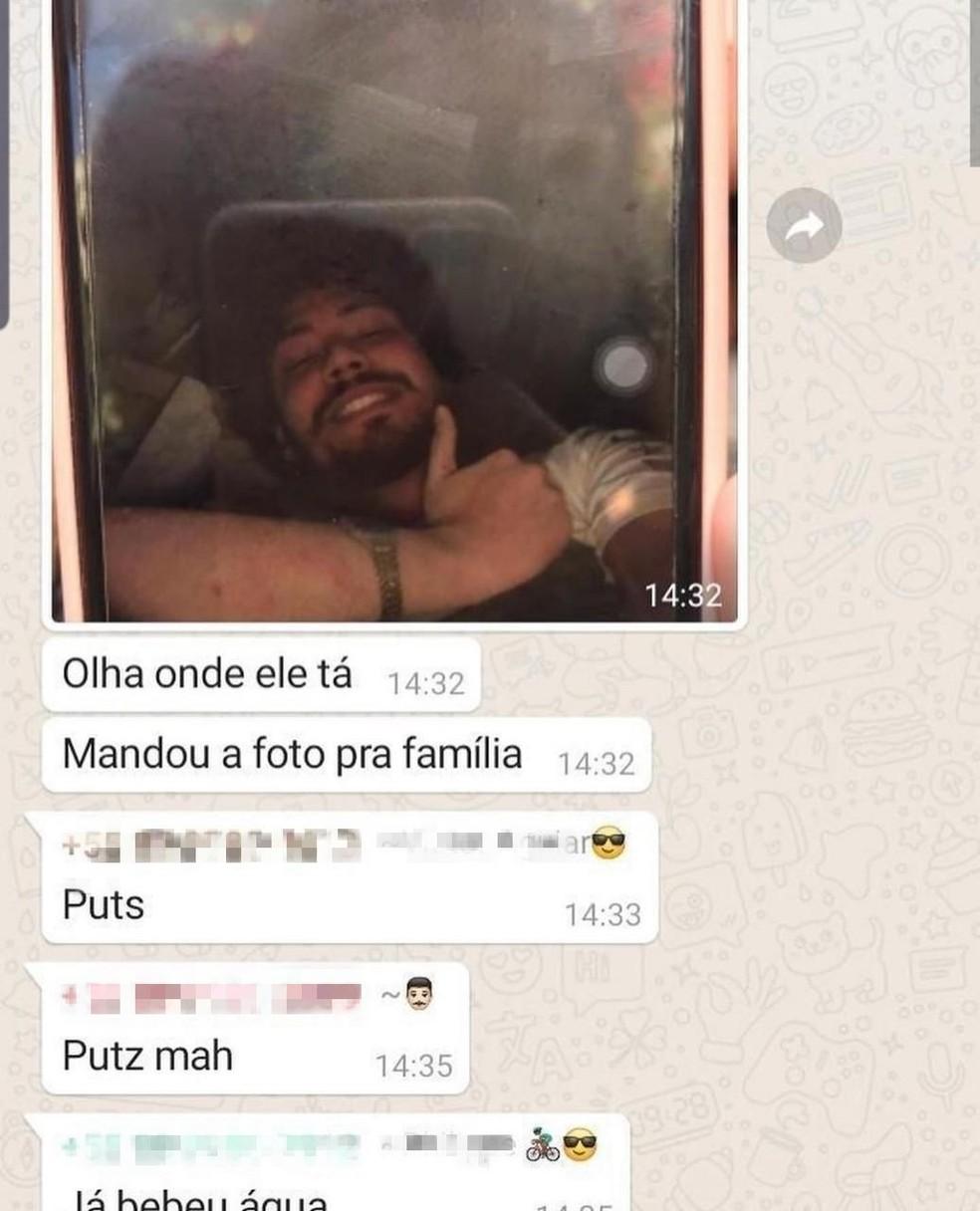 David Martins, que foi resgatado de prédio em Fortaleza, enviou foto para tranquilzar a família — Foto: Reprodução