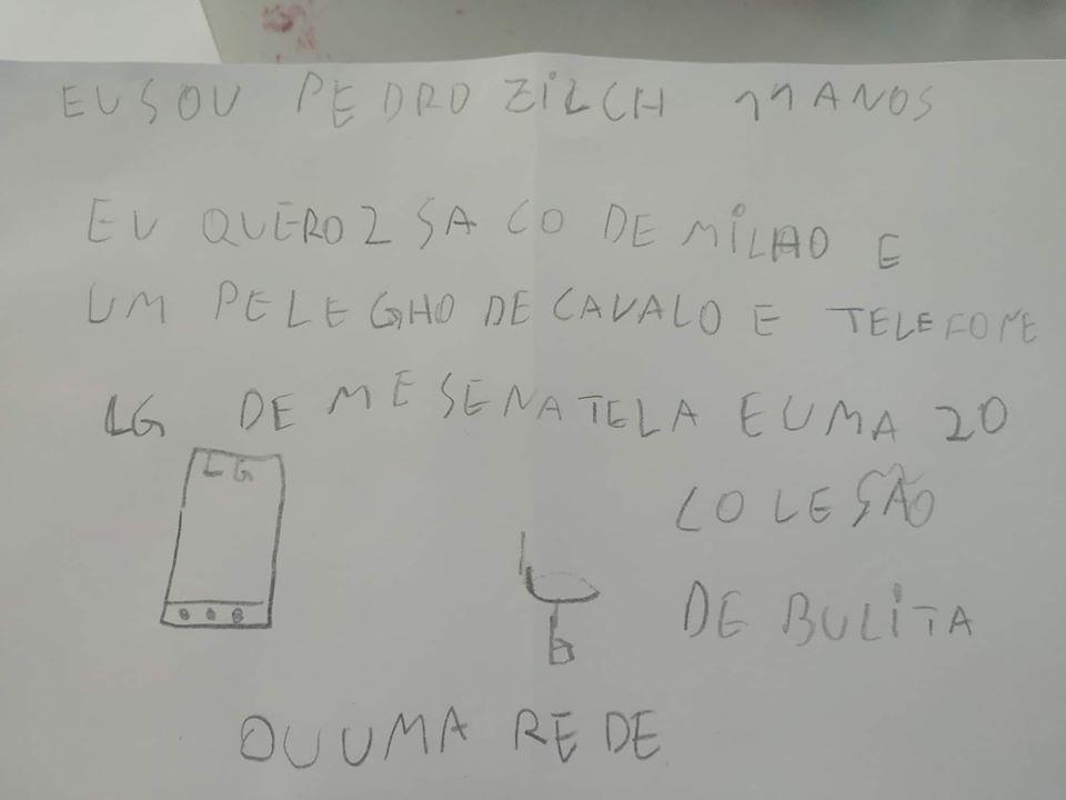 Em bilhete ao Papai Noel, menino pede pelego, milho para o cavalo e bolitas - Notícias - Plantão Diário