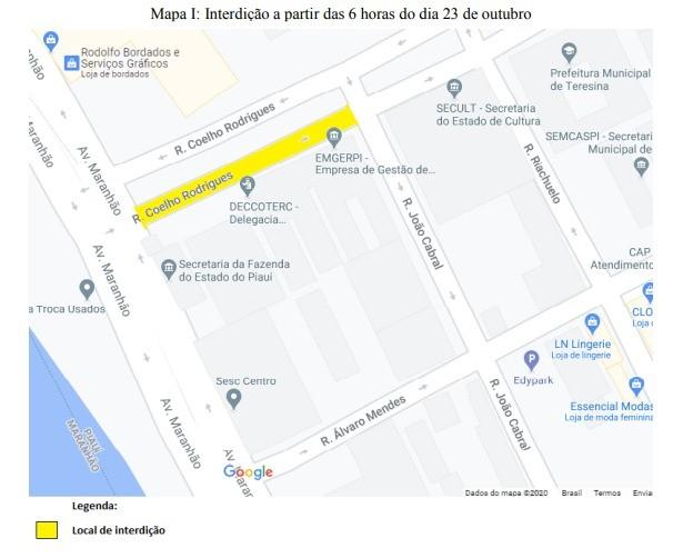 Rua Coelho Rodrigues será interditada para obra de galeria de sexta-feira (23) a domingo (25)