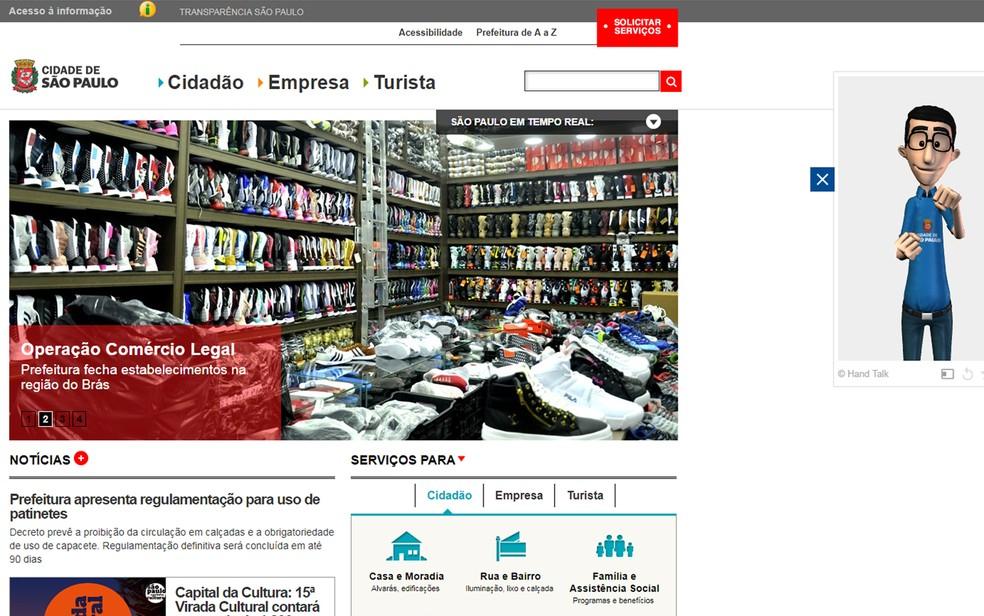 Hugo traduz conteúdo de sites comerciais e institucionais, como o da Prefeitura de São Paulo — Foto: Reprodução