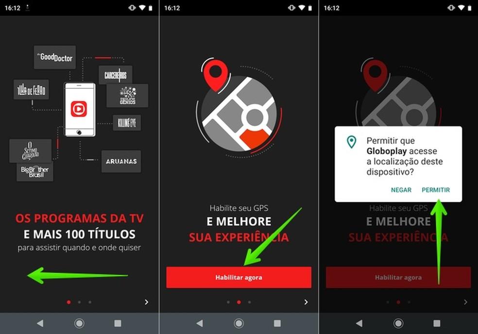 Configuração inicial do app Globoplay — Foto: Reprodução/Helito Beggiora