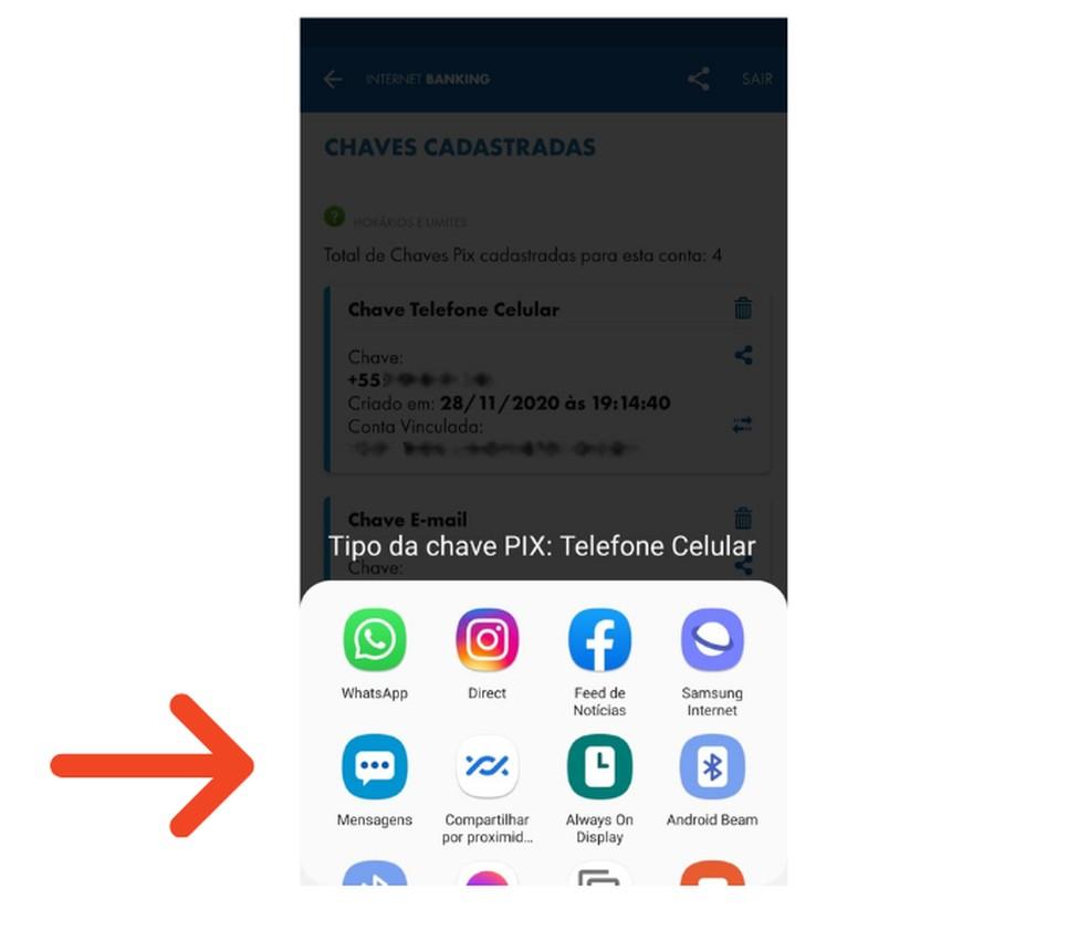 Compartilhe a chave do Pix no aplicativo que desejar para recceber recurso na conta da Caixa — Foto: Reprodução/Lívia Dâmaso