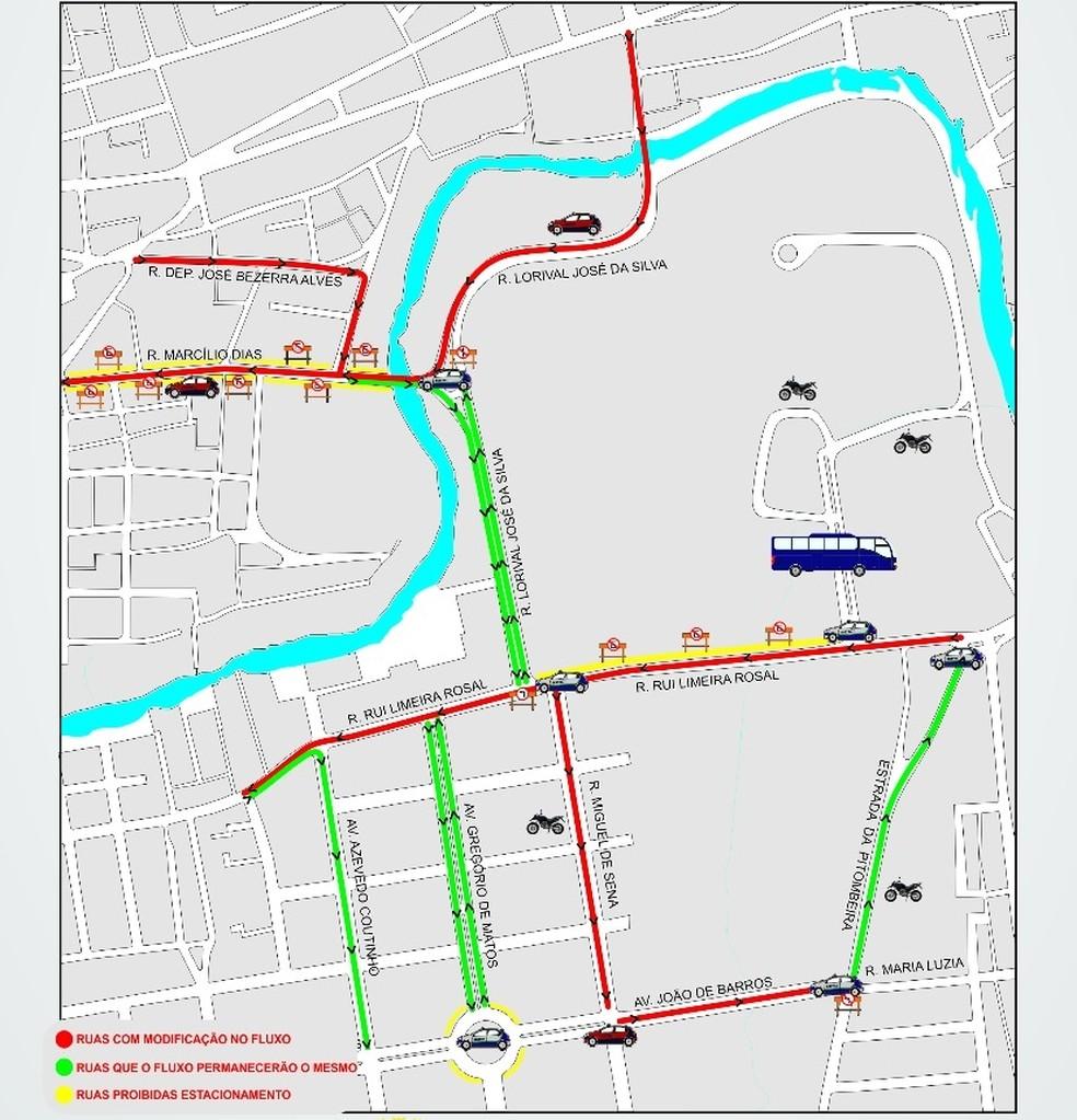 Mapa mostra alterações no trânsito (Foto: Seic/Divulgação)