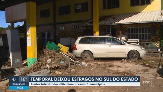Municípios do Sul de SC fazem limpeza após estragos causados por chuva