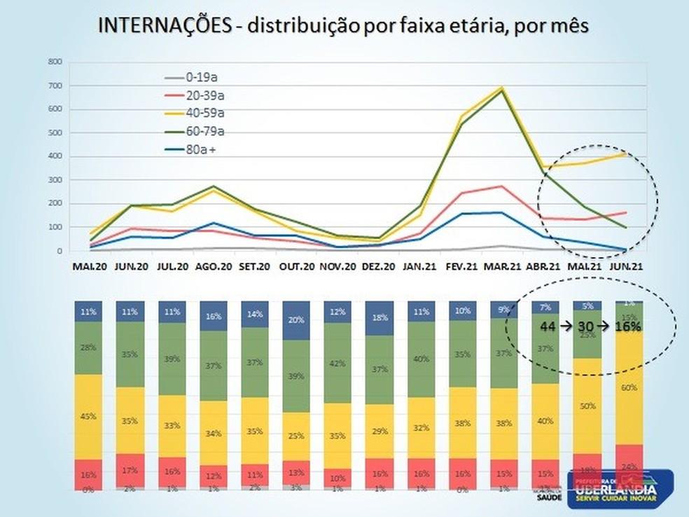 Distribuição por faixa etária por mês das internações em Uberlândia pela Covid-19 — Foto: Secretaria Municipal de Saúde/PMU