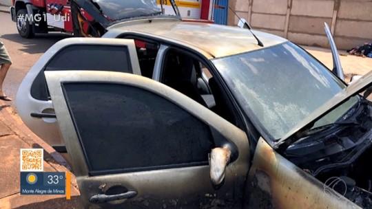 Vídeo mostra carro sendo incendiado em Ituiutaba