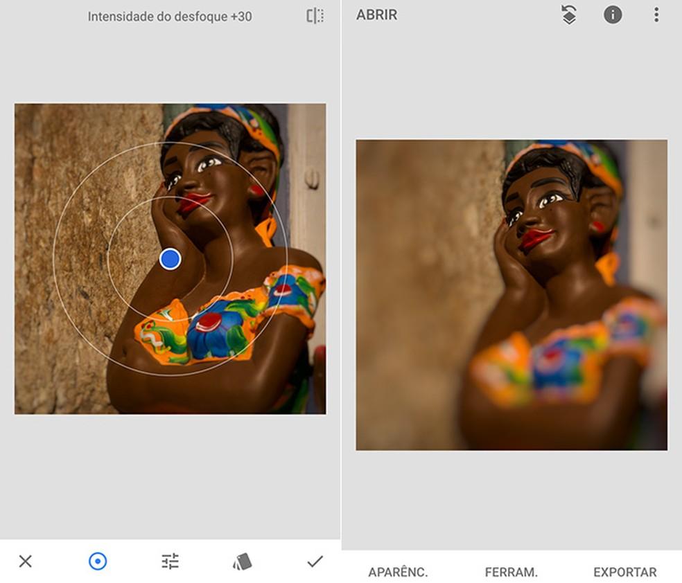 Efeito Foco, do SnapSeed, ajuda a selecionar o que permanece focado, enquanto borra o fundo — Foto: Reprodução/Amanda de Almeida