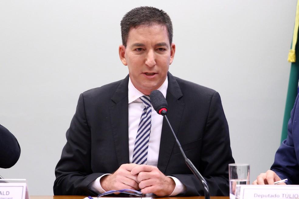 Glenn Greenwald participou de audiência pública no Congresso, em 2019, sobre a atuação de juízes e procuradores brasileiros na Operação Lava Jato — Foto: Vinicius Loures/Câmara dos Deputados
