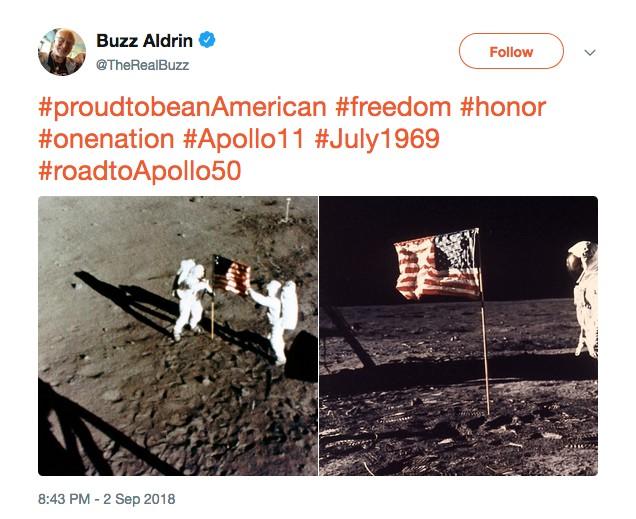 O post enigmático do astronauta Buzz Aldrin (Foto: Twitter)