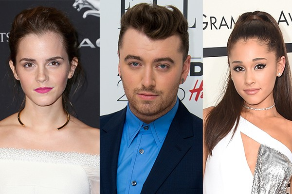 Emma Watson, Sam Smith e Ariana Grande (Foto: Getty Images)