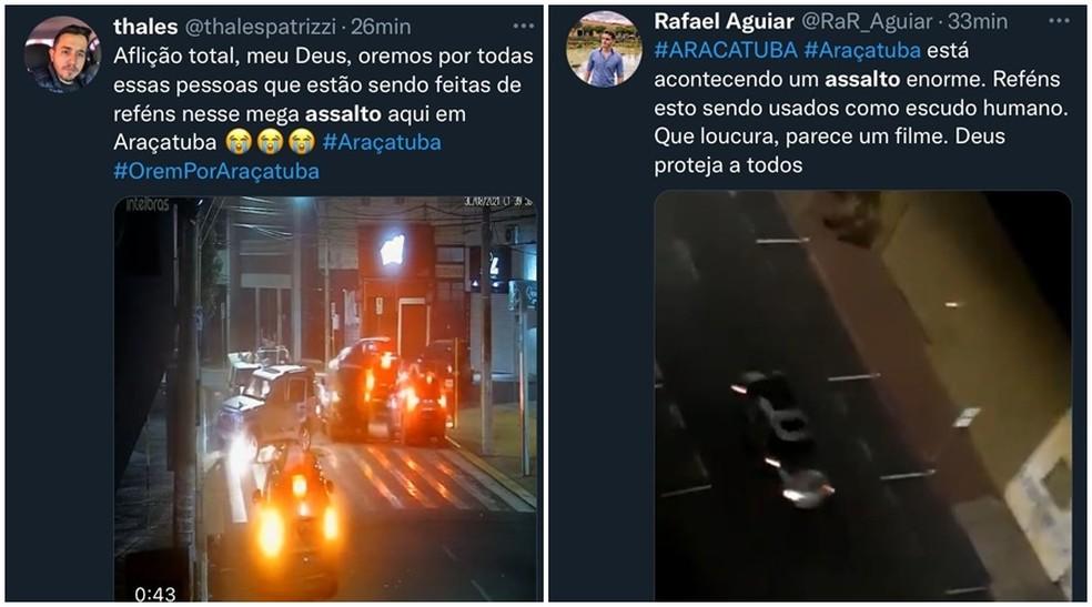 Assalto em Araçatuba (SP) ganhou repercussão nas redes sociais — Foto: Reprodução/Twitter