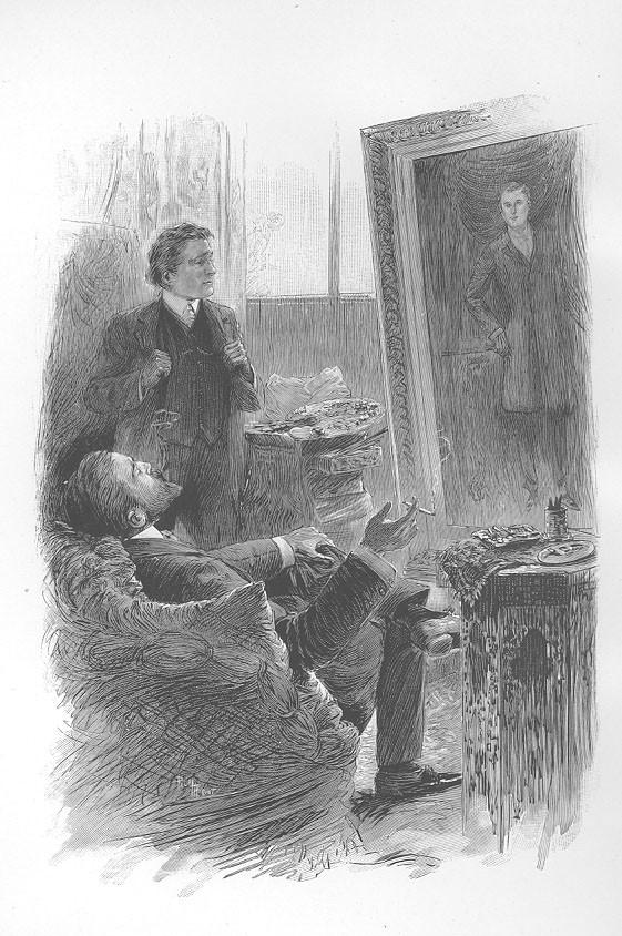 Gravura mostra Basil Hallward e Henry Wotton observando o retrato de Dorian Gray (Foto: Wikimedia/ Mississippi State University, College of Architecture Art and Design)