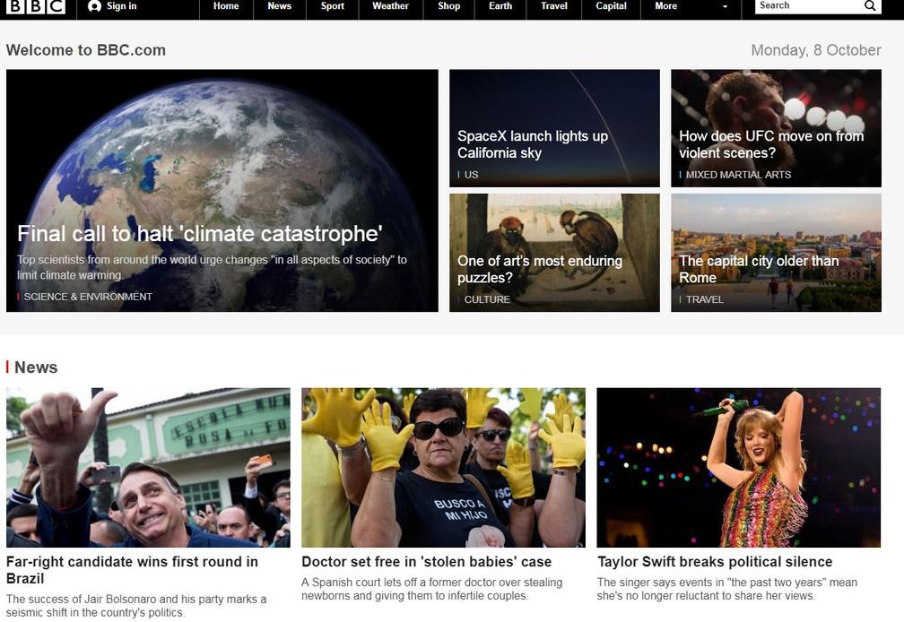"""Emissora britânica BBC chama êxito de Bolsonaro nas urnas de """"mudança sísmica"""" — Foto: Reprodução/BBC"""