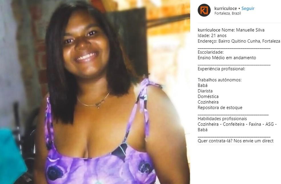 Manuela conseguiu uma entrevista de emprego após o currículo ser divulgado no perfil no Instagram — Foto: Reprodução/Kurrículo