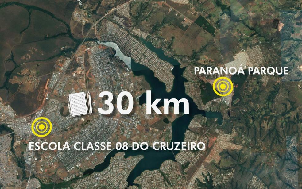 Distância entre o condomínio Paranoá Parque e a Escola Classe 8 do Cruzeiro, no DF, onde menino de 8 anos desmaiou de fome (Foto: TV Globo/Reprodução)