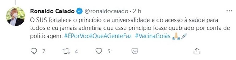 """Governador de Goiás, Ronaldo Caiado, fala sobre """"politicagem"""" na vacinação contra a Covid-19 — Foto: Reprodução/Twitter"""