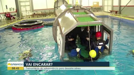 """""""Vai Encarar?"""" faz treinamento de escape de aeronave submersa para águas tropicais e salvatagem"""