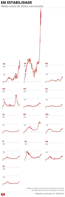 Estados com a média móvel de mortes em estabilidade — Foto: Arte/G1