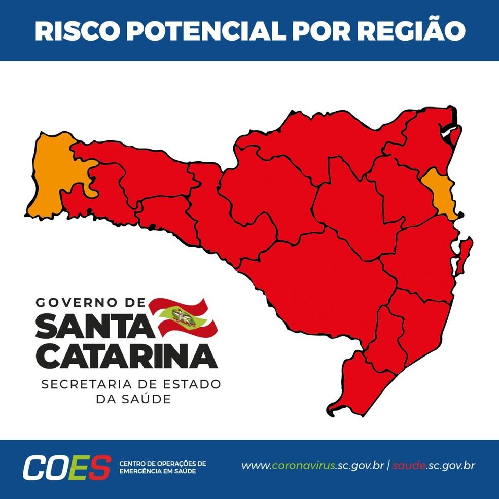 Matriz de risco da situação do coronavírus em SC no dia 9 de dezembro de 2020 — Foto: Secretaria de Estado de Saúde (SES)