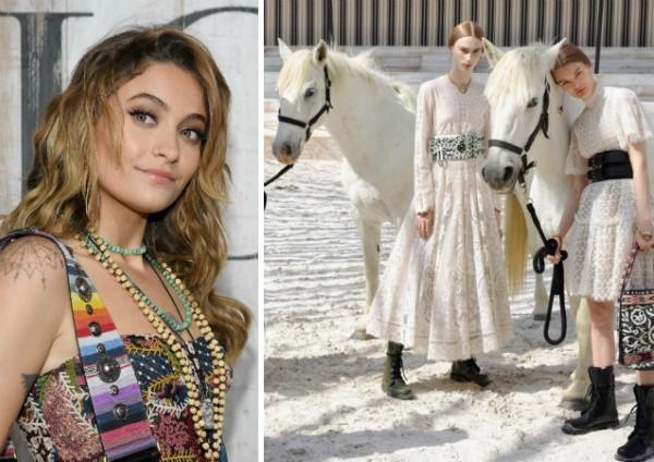 Paris Jackson e as modelos com os cavalos que geraram incômodo na celebridade (Foto: Getty Images/Instagram)