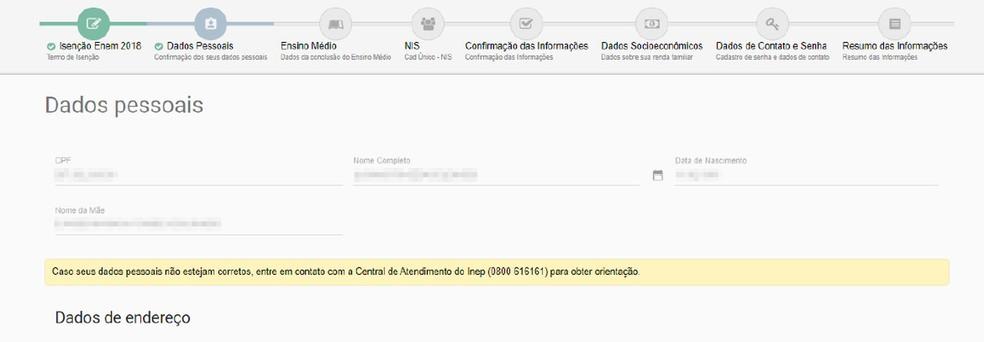 Enem 2018: tela 3 do pedido de isenção (Foto: Reprodução/Inep)
