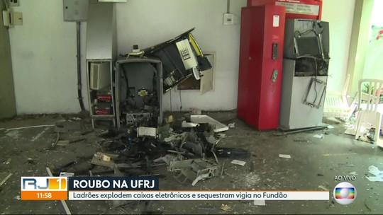 Criminosos atiram contra vigilantes e explodem caixas eletrônicos na UFRJ
