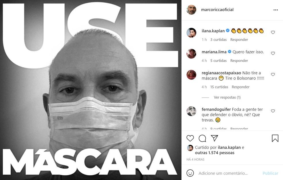 Marco Ricca pediu que as pessoas continuem usando máscara em post; ator teve Covid-19 em dezembro — Foto: Reprodução/Instagram/MarcoRiccaOficial