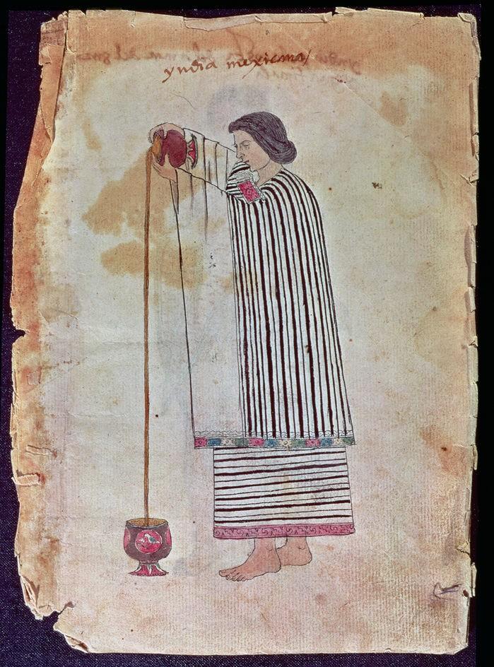 Mural mostra mulher preparando chocolate quente (Foto: Reprodução/MUSEO DE AMERICA, MADRID)