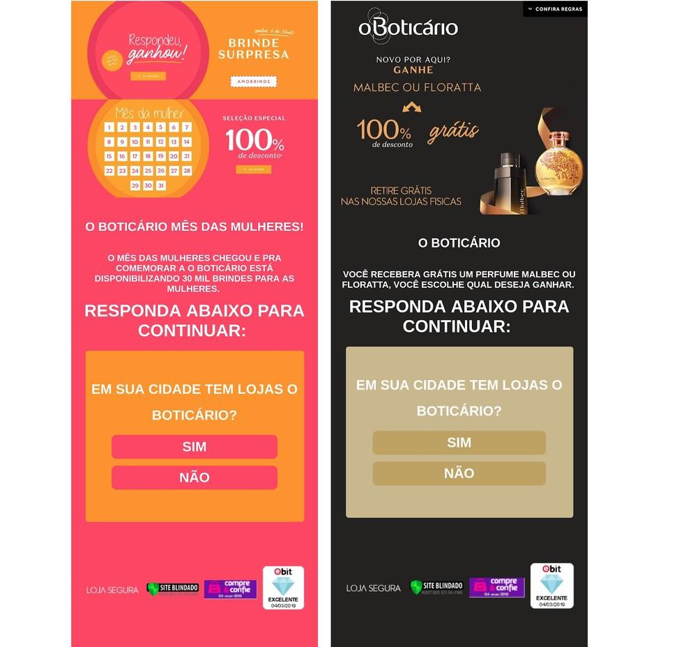 Golpes usam a marca de O Boticário para prometer brindes de Dia da Mulher no WhatsApp — Foto: Divulgação/PSafe