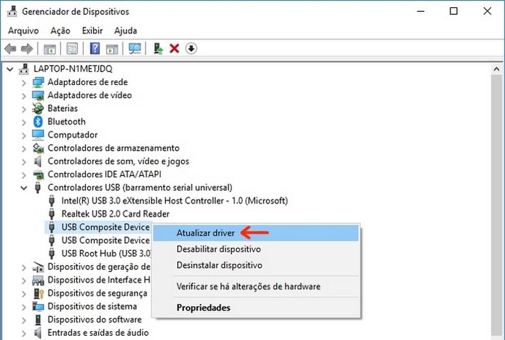 Atualização do driver da porta USB pela qual impressora é conectada ao PC (Foto: Reprodução/Raquel Freire)