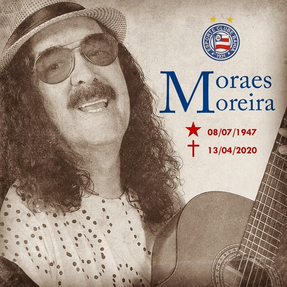 Simpático ao Bahia e torcedor do Flamengo, Moraes Moreira tinha no futebol uma paixão | futebol | ge