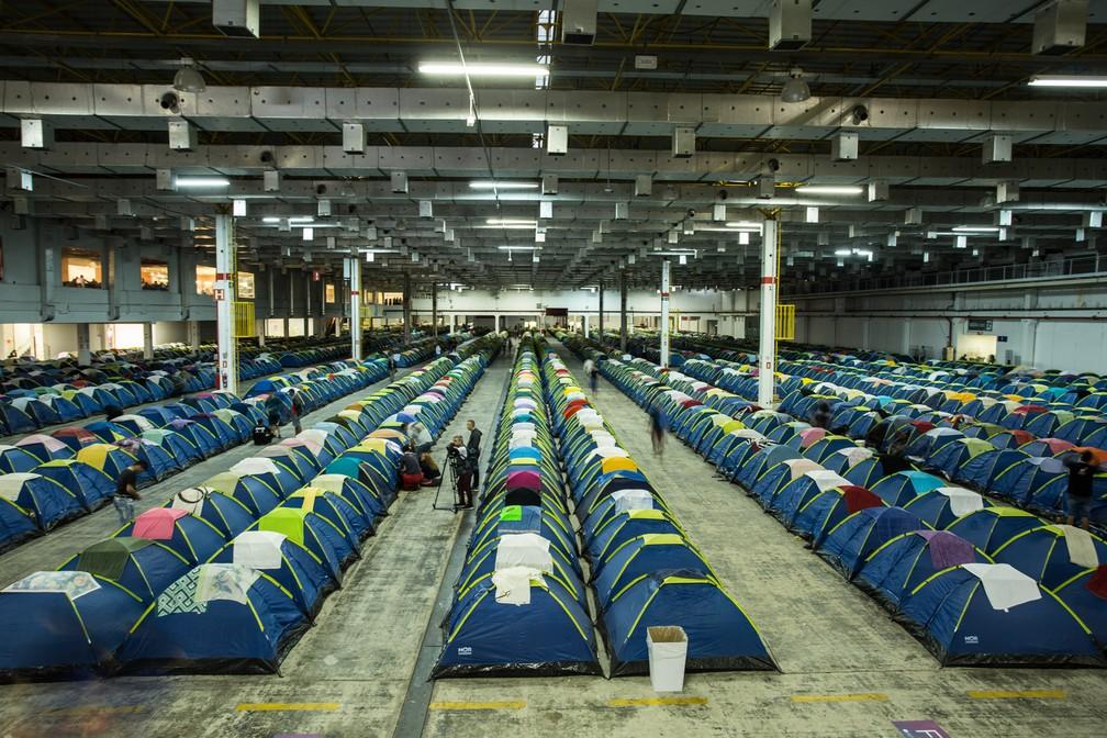 Área de camping da Campus Party 2019 hospeda cerca de 12 mil pessoas nas barracas — Foto: Fábio Tito/G1
