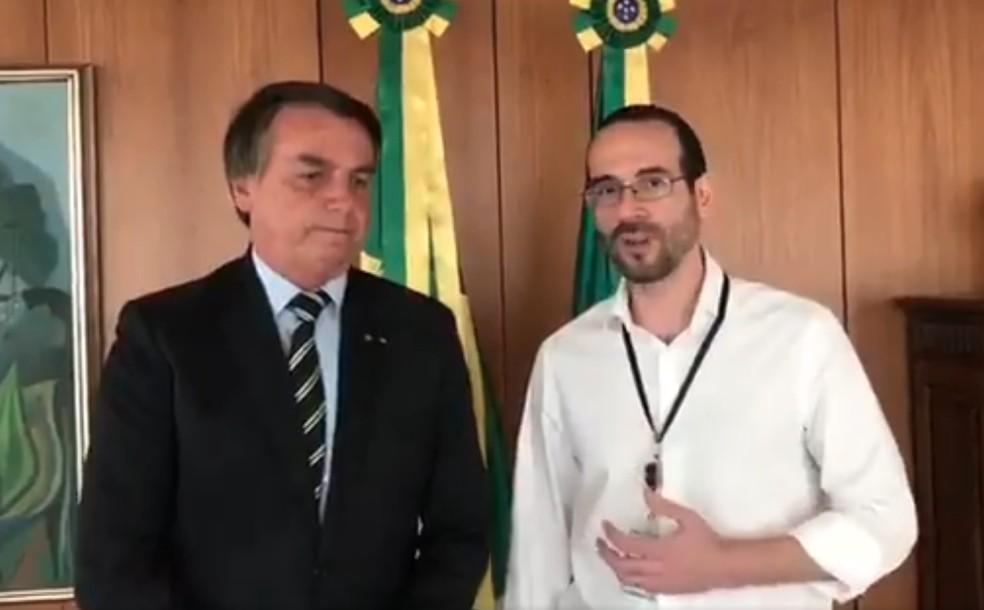 Arthur Weintraub e Bolsonaro — Foto: Reprodução/Twitter